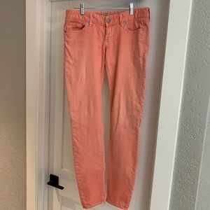 """Express peach low rise jeans, 6 1/2"""" rise"""